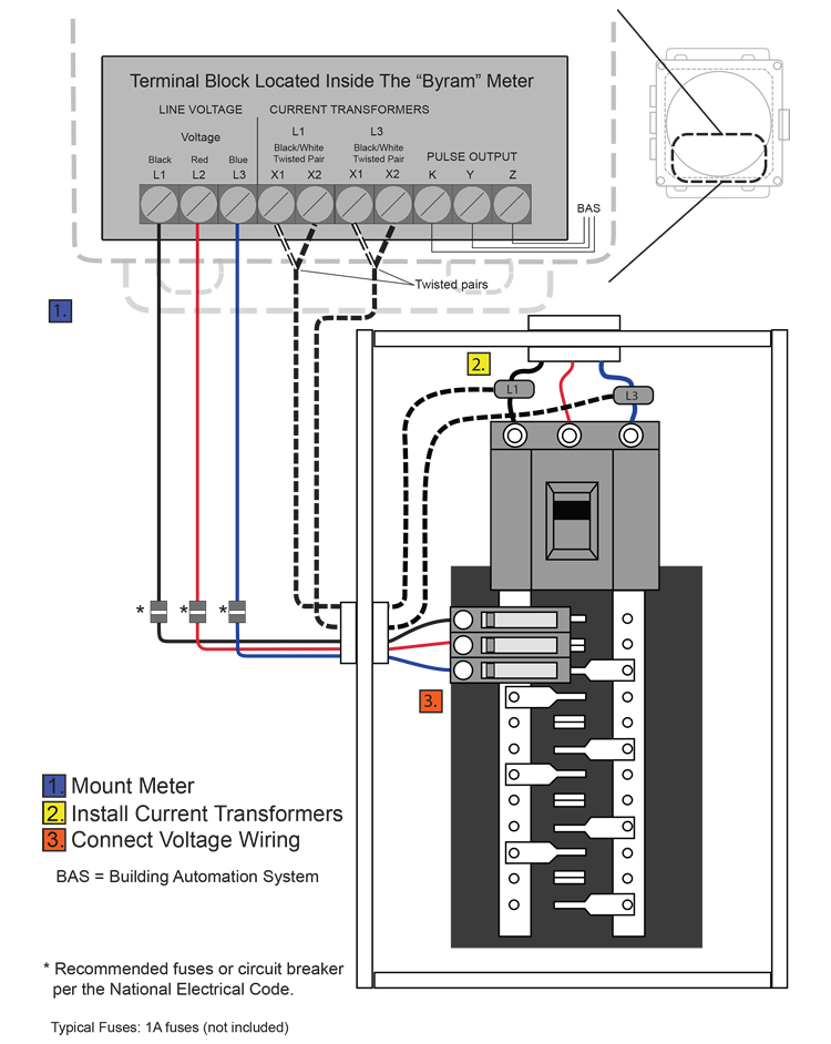 byram 3 phase 3 wire meters 480 vac transformer diagram 3 phase, 3 wire installation diagram