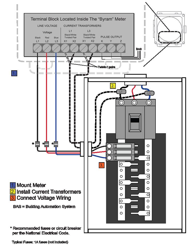 wiring 240v bas byram 3 phase 3 wire meters  byram 3 phase 3 wire meters
