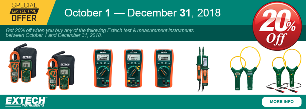 Get 20% off when you buy select Extech test and measurement instruments